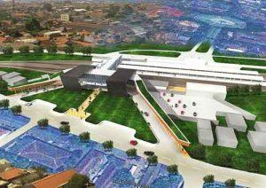 Desain Stasiun Malang Kotabaru tampak belakang, terlihat area lahan parkir.